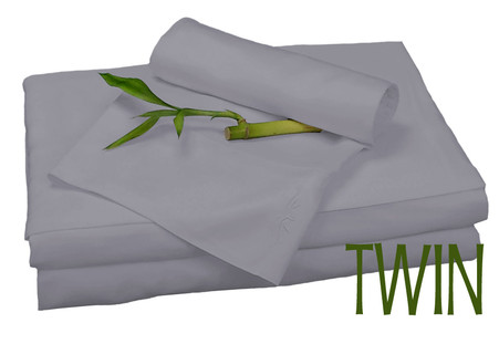 TWIN BAMBOO SHEET SET IN Platinum, ECO FRIENDLY HYPOALLERGENIC