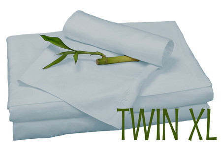 TWIN XL BAMBOO SHEET SET IN Sky Blue, ECO FRIENDLY HYPOALLERGENIC