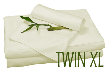 TWIN XL BAMBOO SHEET SET IN Ivory ECO FRIENDLY HYPOALLERGENIC