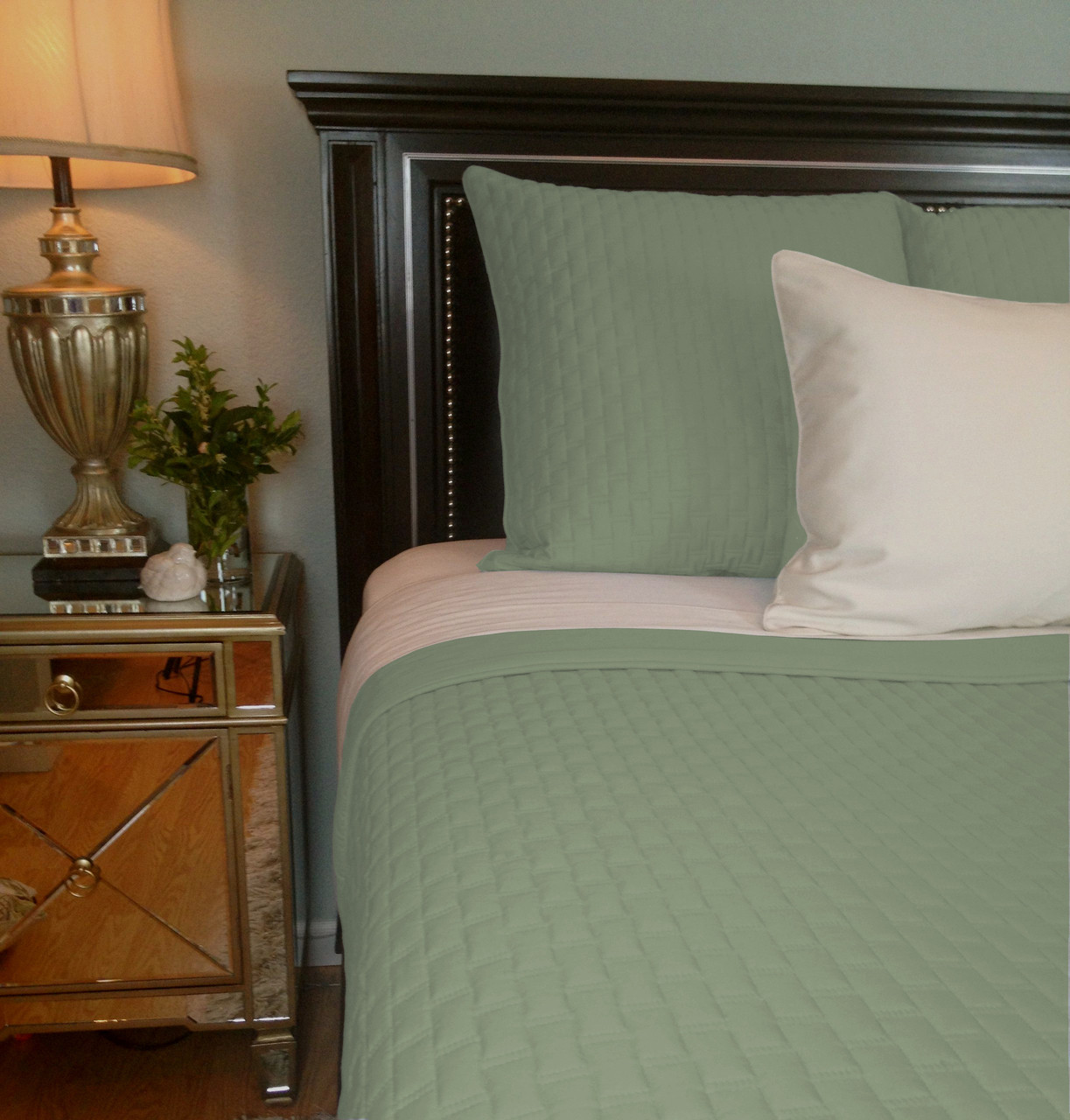 Sage Green Bamboo Quilted Coverlet In King Or Queen Eco Friendly Hypoallergenic