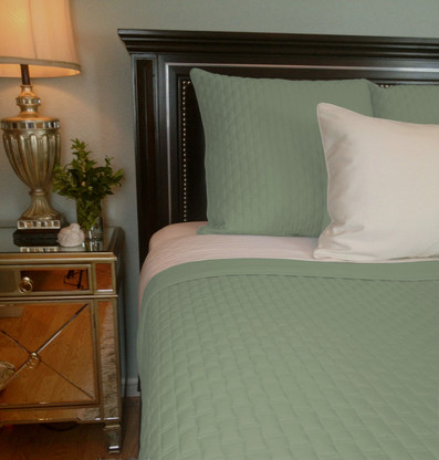 Sage Green Bamboo Quilted Coverlet - Queen or King - Hypoallergenic