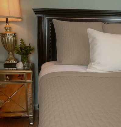Champagne Brown Bamboo Quilted Coverlet - Queen or King - Hypoallergenic