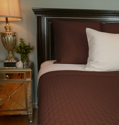 Mocha Brown Bamboo Quilted Coverlet - Queen or King - Hypoallergenic