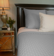 Platinum Silver Blue Bamboo Quilted Coverlet - Queen or King - Hypoallergenic