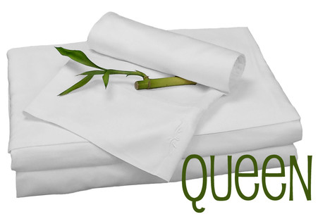 Queen Bamboo Sheet Set in White, Eco Friendly Hypoallergenic