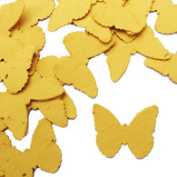 Mustard Yellow Butterfly Shaped Plantable Wildflower Seed Recycled Paper Wedding Confetti
