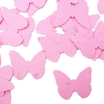 Hot Pink Butterfly Shaped Plantable Wildflower Seed Recycled Paper Wedding Confetti