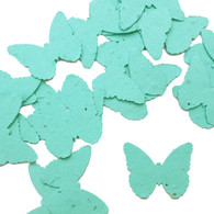 Aqua Blue Butterfly Shaped Plantable Wildflower Seed Recycled Paper Wedding Confetti