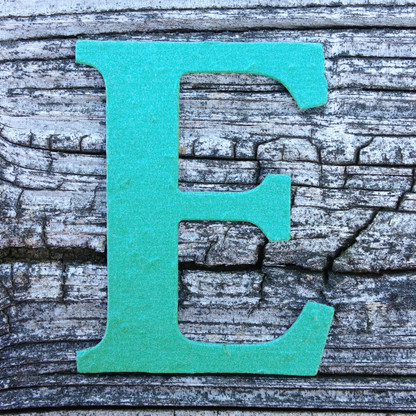 """Letter E Monogram Plantable Recycled Seeded Paper Shape - 2.5"""" Tall"""