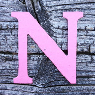 "Letter N Monogram Plantable Recycled Seeded Paper Shape - 2.5"" Tall"