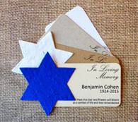Star of David Memorial Plantable Wildflower Seed Paper Eco Friendly Mini Favors