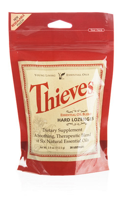 Thieves Essential Oil Blend Hard Lozenges Supplement by Young Living - 30 Ct