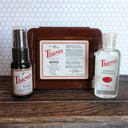Thieves Travel Care Essential Oil Kit - Young Living, Thieves Spray, Thieves Wipes, Thieves Waterless Hand Purifier