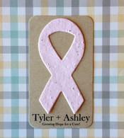 Breast Cancer Awareness Ribbon Plantable Paper Mini Favors - Set of 8