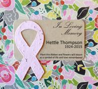 Breast Cancer Awareness Ribbon Memorial Plantable Paper Mini Favors - Set of 8
