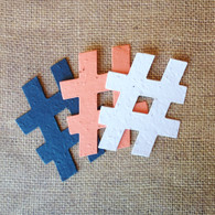 "Hashtag Plantable Seeded Paper Shape - 2.5"" x 3"" Size, 39 Colors Available"