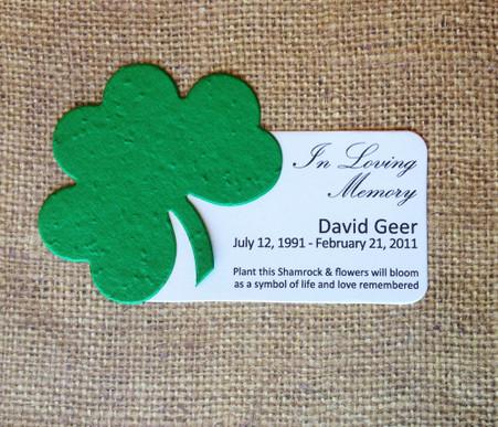 Shamrock Celtic Memorial Plantable Wildflower Seed Paper Eco Friendly Mini Favors