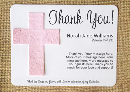 Cross Baptism & Dedication Plantable Seeded Recycled Paper Flat Card Favors - Set of 12 - 39 Colors Available