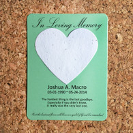 Eco Friendly Green Heart Memorial Plantable Wildflower Seeded 100% Recycled Paper Favors - Set of 12 - 39 Colors Available