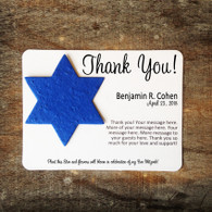 Star of David Jewish Bar Mitzvah or Bat Mitzvah Dedication Plantable Seeded Recycled Paper Flat Card Favors - Set of 12 - 39 Colors Available