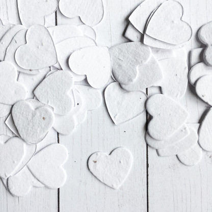 White Heart Shaped Plantable Confetti