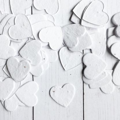 White Heart Shaped Plantable Confetti
