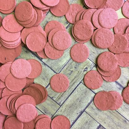 Brick Red Circle Shaped Plantable Confetti