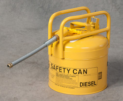 "EAGLE Yellow Galvanized Steel Type II Style Safety Can   w/5/8"" Flexible Hose"