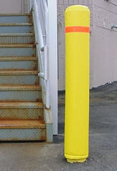 "Innoplast 7"" x 50""  Bollard Pole Soft Padded Cover Yellow with Red Reflective Tape"