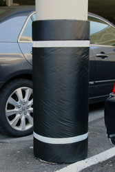"Innoplast 44"" H x 36"" W Black Column Wrap Soft Padded Cover w/ white tape"