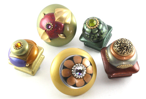 Unique Jewel tone Cabinet Knobs in 1.5 and 2 inch diameter