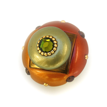 Mini DUO KNOB COPPER 2 INCHES DIAMETER WITH GOLD METAL DETAILS AND SWAROVSKI OLIVINE CRYSTAL