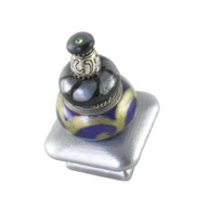 Carnival  Square Knob Deep Lapis 1.5 In. with silver metal accents