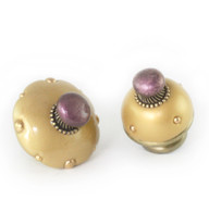Mini and Nu mini style #12 knobs in light gold and amethyst.