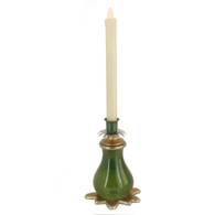 Splash LED Candlestick Emerald is cast resin and hand painted with beeswax battery operated flickering candle.