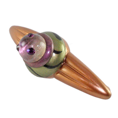 Congo Light Amber Jade Orbit Pull 5.25 in  with 4 in hole span has amethyst swarovski crystals