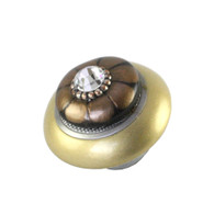 Mini Tiki Light gold Irr has silver metal details and Swarovski crystal