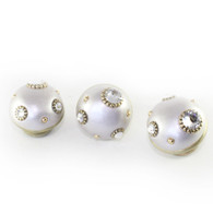 Nu Mini Style 6 alabaster knobs 1.5 in. diameter with gold metal details and Swarovski crystals.