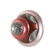 XL Tudor knob 2.5  inches diameter in agate and coral with silver metal details.