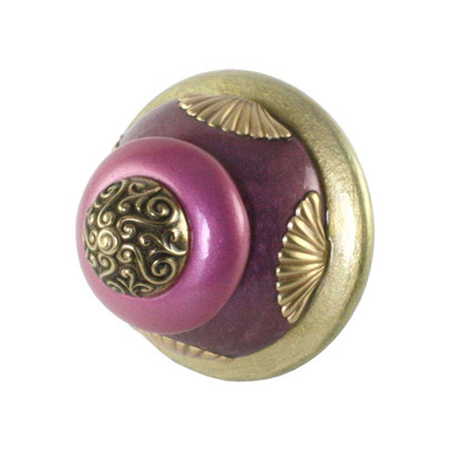 XL Tudor knob 2.5  inch diameter in jade, amethyst and pink with gold metal details