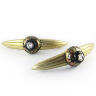 Pair of Grand Tiki gold Orbit7 pulls 7 in. with  5 in. hole span IRR have gold metal details and Swarovski crystal