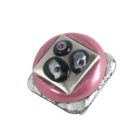Tiki Square Knob Pink 1 1/2 in. with silver metal details and amethyst crystals