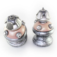 Pair of Jumbo Tut finials in blush pink and alabaster has silver metal details and Swarovski crystals