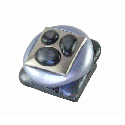 Tiki Square Knob Light Sapphire and Moonstone 1 1/2 in. with silver metal details