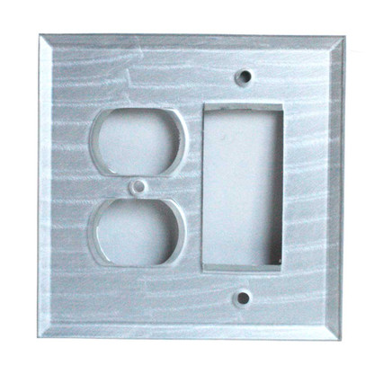 Silver Glass duplex outlet decora switch cover