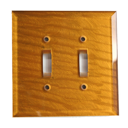 Glass Double Toggle Switch Cover Deep Gold