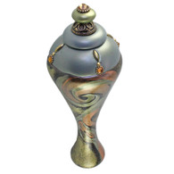 XL Isabella Finial in deep opal and jade has gold metal details and Swarovski topaz crystals.