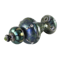 Jumbo Finial Isabella in emerald turquoise and jade has silver metal details and Swarovski crystals.