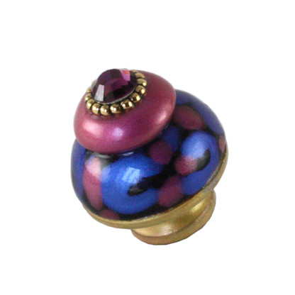 Nu Grand Tiki Pink knob 1.5 inches diameter with amethyst crystal