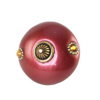 Mini Style 1 Knob Ruby 2 In. Diameter with gold metal accents and Swarovski topaz crystals.